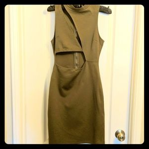 🔥Olive Green Bodycon Cutout Dress Gold Zipper - M